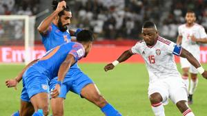 Representative Image: United Arab Emirates' midfielder Ismail Al Hamadi (R) is marked by India's defender Sandesh Jhingan (C) during the 2019 AFC Asian Cup group A football match between India and UAE.(AFP)