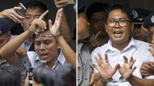 Wa Lone, 32, (right) and Kyaw Soe Oo, 28, were convicted by a lower court in September in a landmark case that has raised questions about Myanmar's progress towards democracy and sparked an outcry from diplomats and human rights advocates.(AP/File Photo)