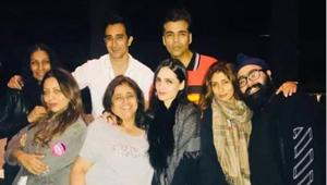 Karan Johar shared this picture too as his Instagram story as Bollywood set celebrated Kajal Anand's birthday.(Instagram)