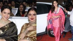 Kangana Ranaut, Rekha and Sara Ali Khan at Marathi Taraka awards.(Viral Bhayani)