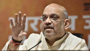 BJP National President Amit Shah compared the upcoming Lok Sabha elections to the battle of Panipat.(HT PHOTO)