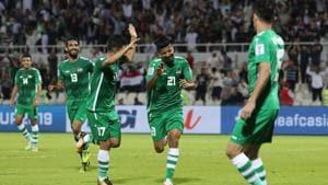 Iraqi team celebrate a goal in the 2019 Asian Cup.(AFP)