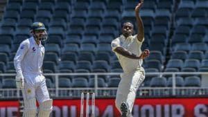 South Africa's bowler Kagiso Rabada in action against Pakistan.(AP)