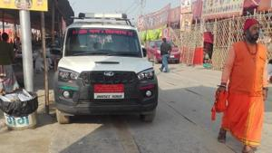 One of the swanky, high-end vehicles used by top seers camping at the Sangam in Prayagraj for the Kumbh Mela(HT Photo)