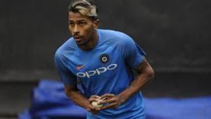 Hardik Pandya during practice session at IS Bindra Cricket Stadium in Mohali .(HT Photo)