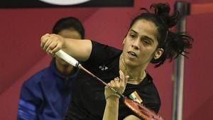 Saina Nehwal in action against Mauritius' Kate Foo Kune.(PTI)