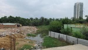 A view of Badshapur drain, in Gurugram. The GMDA plans to concretise the drain and boxing it using Reinforced Cement Concrete (RCC) pipes by July 2019.(Parveen Kumar/ HT File)
