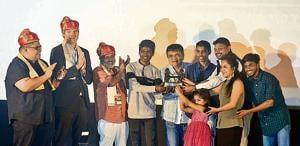 The team of Marathi film Chumbak received the Government of Maharashtra, Sant Tukaram award for the best Marathi film at 17th PIFF on Thursday.(Ravindra Joshi/HT PHOTO)