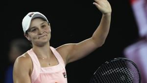 Australia's Ashleigh Barty celebrates after defeating Greece's Maria Sakkari during their third round match at the Australian Open tennis championships in Melbourne.(AP)