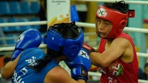 Babyrojisana Chanu in action during the Khelo India Youth Games.(HT Photo)