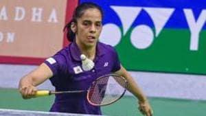 Lucknow: Saina Nehwal plays against Amolika Singh Sisodiya (unseen) at Syed Modi International Badminton Championships in Lucknow on Thursday, Nov 22, 2018. Saina won the match, 21-14, 21-09.(PTI)
