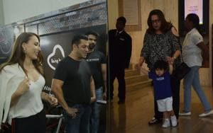 Salman Khan takes on fitness challenge and Taimur at a party.(Viral Bhayani)