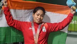 File picture of Indian weightlifter Sanjita Chanu(PTI)