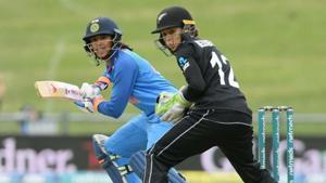 India's Smriti Mandhana plays a shot againts New Zealand in Napier.(BCCI/ Twitter)