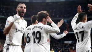Real Madrid's Karim Benzema celebrates scoring their fourth goal(REUTERS)