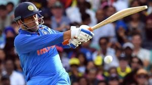 MS Dhoni plays a shot during the first one day international (ODI) match between Australia and India.(AFP)