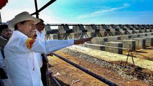 Telangana Chief Minister K Chandrasekhar Rao inspects Annaram barrages under Kaleshwaram Project lift irrigation scheme, Bhoopalpally.(PTI FILE PHOTO)
