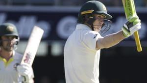 Australia's Marnus Labuschagne waves his bat after he reached his fifty.(AP)