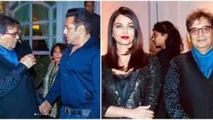 Subhash Ghai shares special moments with Aishwarya Rai, Salman Khan and Madhuri Dixit at his birthday party.(Viral Bhayani/Instagram)