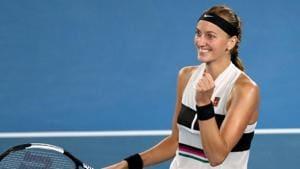 Czech Republic's Petra Kvitova reacts during match against Danielle Collins.(REUTERS)