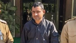 The arrested man Krishan Dutt Tiwari, a driver, lives in west Delhi's Rajouri Garden with his wife, mother and two sons.(HT Photo)