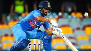 Rishabh Pant plays a shot during the T20 international cricket match between Australia and India.(AFP)