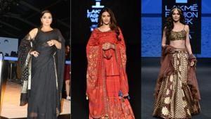 Vidya Balan, Nupur Sanon and Kriti Kharbanda at Lakme Fashion Week.(Varinder Chawla.)