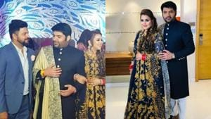 Kapil Sharma with wife Ginni Chatrath at his third wedding reception in Delhi.(Instagram)