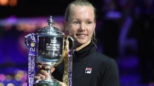 Kiki Bertens poses with the trophy after her victory over Croatia's Donna Vekic.(AFP)