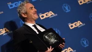 Director Alfonso Cuaron poses with the Nomination Medallion for Outstanding Directorial Achievement in Feature Film for Roma in the press room during the 71st Annual Directors Guild Of America (DGA) Awards at the Ray Dolby Ballroom in Hollywood.(AFP)