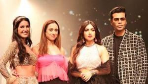 Karan Johar, Bhumi Pednekar, Isabelle Kaif on head ramp with designer Shehla Khan at LFW SR19(Shehla Khan/Instagram)