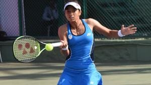 Ankita Raina in action during the BVG Pune Open ITF Women's Championships.(HT Photo)