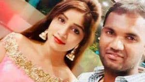 Telugu TV actress Naga Jhansi with Surya.
