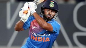 Rishabh Pant plays a shot during the second T20 international cricket match between New Zealand and India.(AFP)