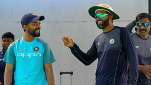 Rest of India cricket team captain Ajinkya Rahane and Vidarbha batsman Wasim Jaffar during a practice session ahead of Irani Cup match.(PTI)