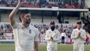 England's Mark Wood celebrates with the ball(Action Images via Reuters)