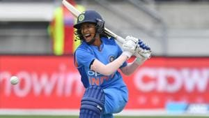 Jemimah Rodrigues plays a shot during the first T20 international women's match between New Zealand and India.(AFP)