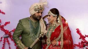 Jalandhar: Comedian Kapil Sharma and Ginni Chatrath at their wedding ceremony in Jalandhar on Dec. 12, 2018. (Photo: IANS)(IANS)