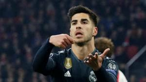 Real Madrid's Marco Asensio celebrates scoring their second goal against Ajax.(Reuters)