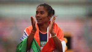 Hima Das of India celebrates winning gold in the final of the women's 400m on day three of The IAAF World U20 Championships on July 12, 2018 in Tampere, Finland(Getty Images for IAAF)
