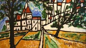 Goan modernist painter F.N. Souza's painting on Goa's Catholicism on preview in Delhi