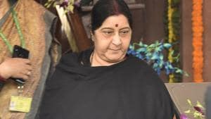 External affairs minister Sushma Swaraj, during a brief stopover in Tehran on her way to Bulgaria, met Iran's deputy foreign minister Seyed Abbas Araghchi and discussed bilateral issues on Saturday.(Mohd Zakir/HT File Photo)