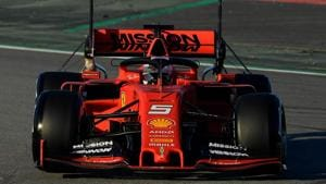 Ferrari's German driver Sebastian Vettel drives during the tests for the new Formula One Grand Prix season at the Circuit de Catalunya in Montmelo in the outskirts of Barcelona on February 18, 2019(AFP)