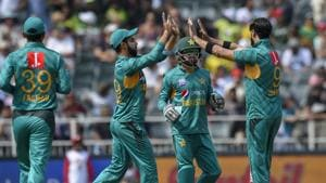 File image of the Pakistan team celebrating a wicket.(AP)