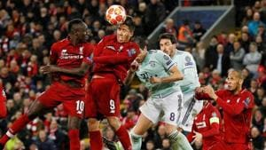 Liverpool's Sadio Mane, Roberto Firmino and Fabinho in action with Bayern Munich's Javi Martinez and Mats Hummels during their Champions League encounter on Tuesday.(REUTERS)