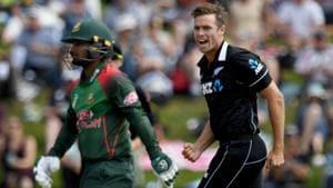 New Zealand's Tim Southee celebrates a dismissal against Bangladesh.(AFP)