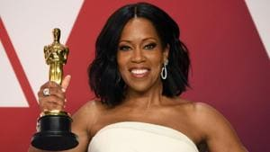 Actor Regina King, winner of the Best Actress in a Supporting Role award for If Beale Street Could Talk poses in the press room.(AFP)