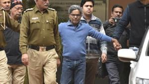 Rajiv Saxena, who is an accused in the AgustaWestland chopper scam, was provided three armed guards for his round-the-clock security after a Delhi district court granted him a regular bail on Monday. (Photo by Sanchit Khanna/ Hindustan Times)(Sanchit Khanna/HT PHOTO)