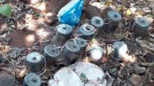 Improvised Explosive Devices (IEDs) recovered from a Maoist hid out after the joint operation of SSB and Jharkhand police at Gopikander area in Dumka on Saturday February 24,2019-(HT Photo)