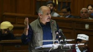 Manish Sisodia presenting the annual budget of Delhi on Tuesday(HT)